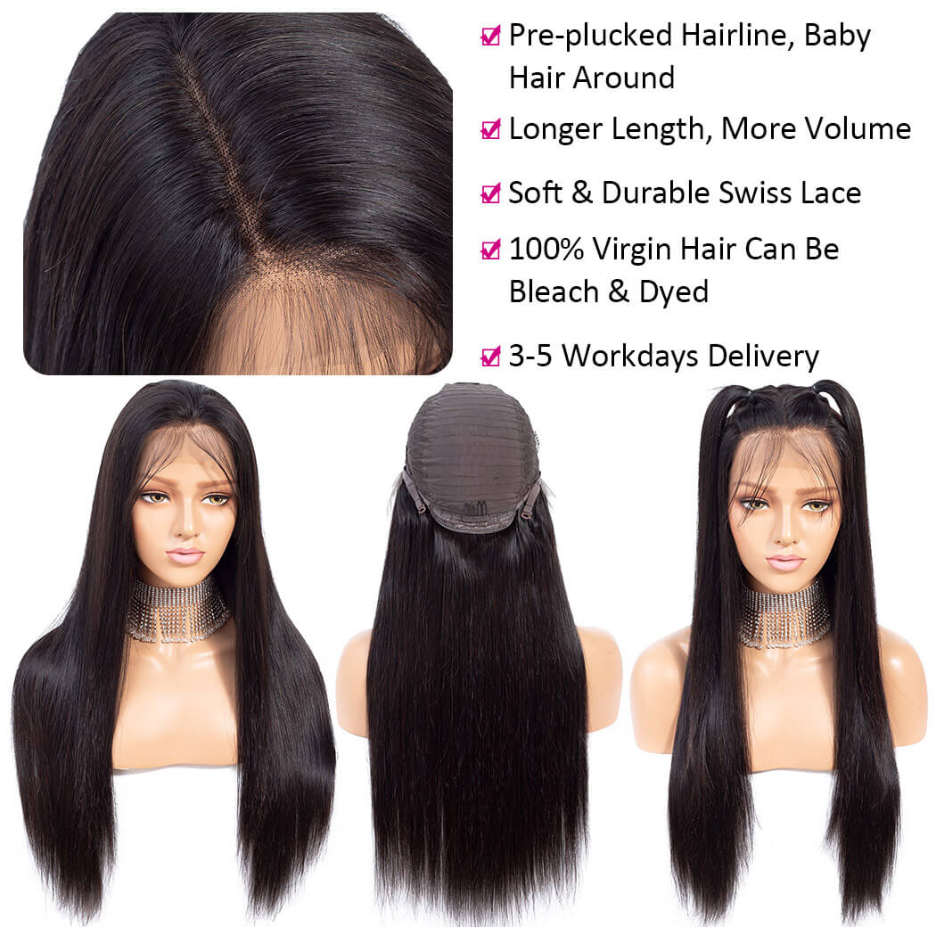 13x6 straight lace front wig