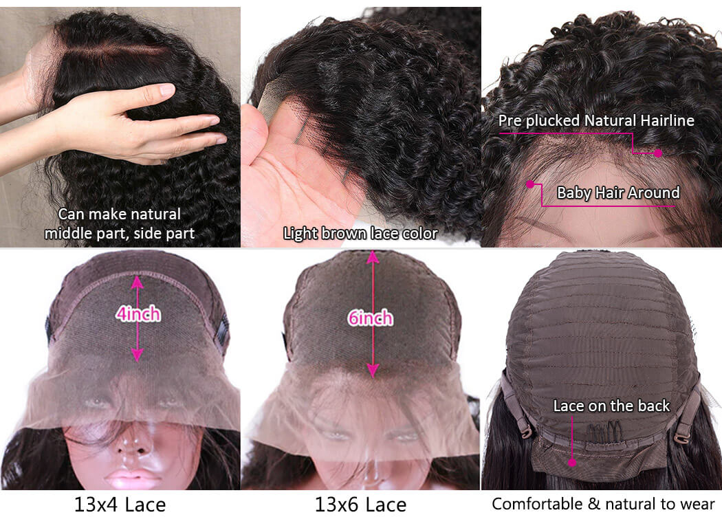 curly lace front wigs with pre plucked