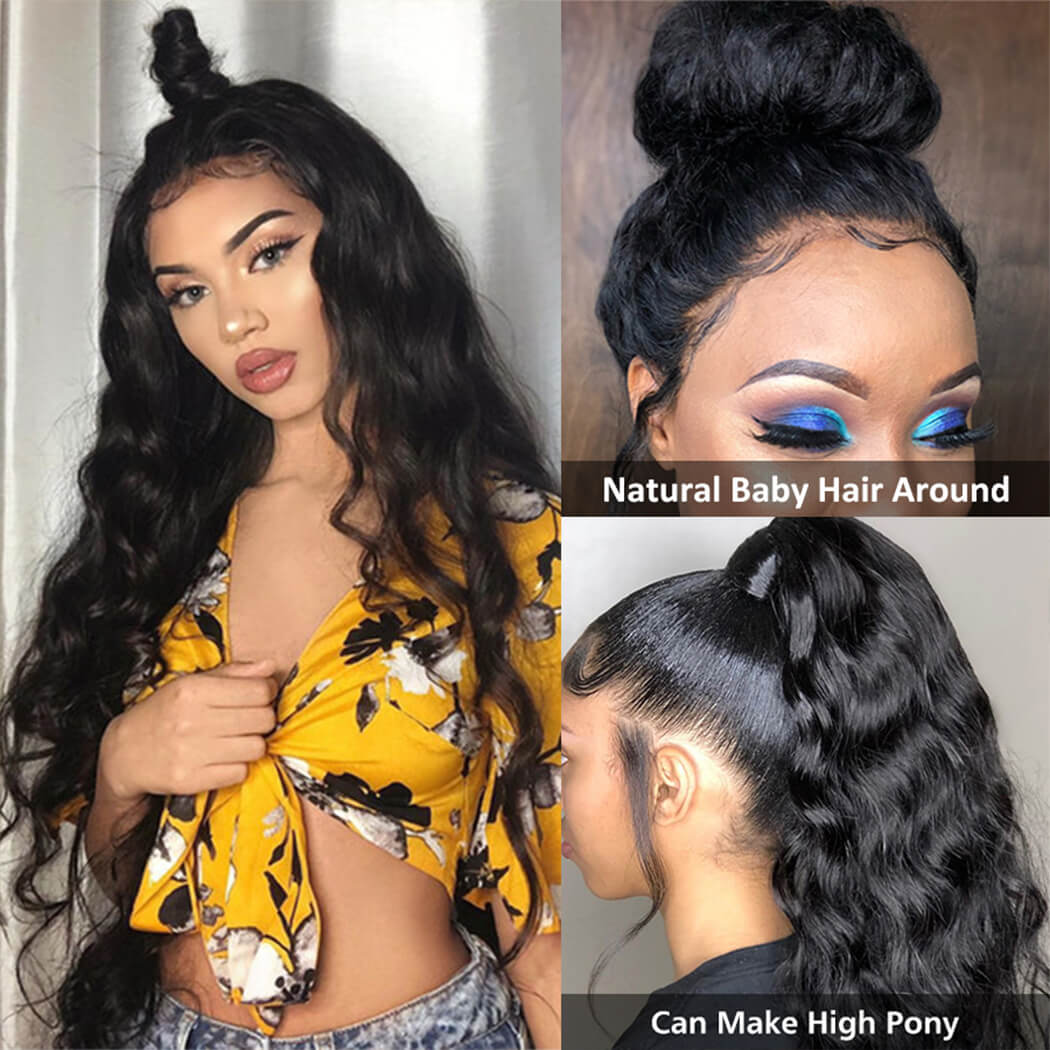 360 body wave human hair wig