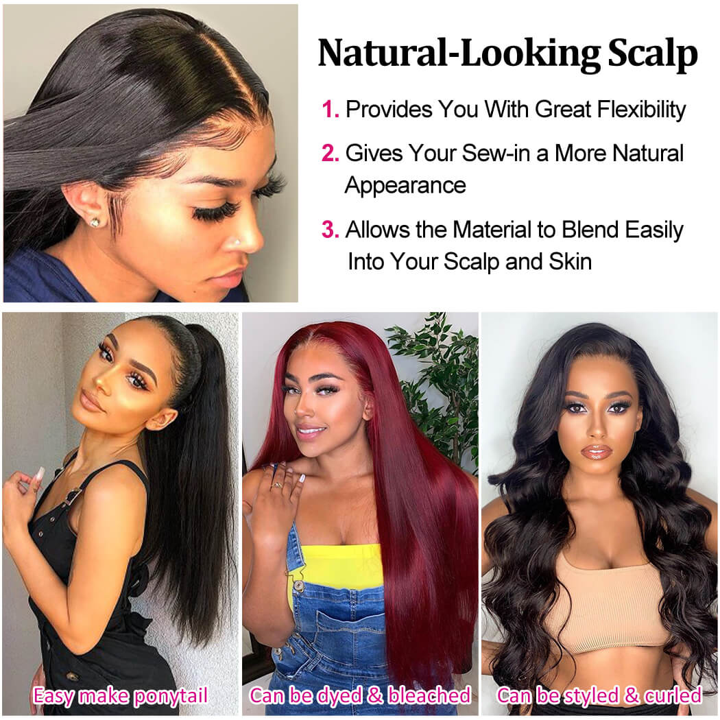 Lace Front Human Hair Wigs Straight Pre Plucked Hairline