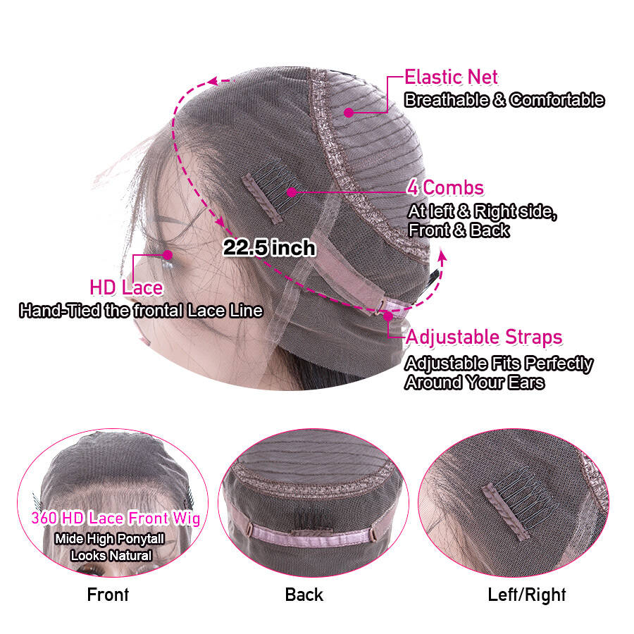 Straight HD 360 Lace WIgs Cap Lace Design Show