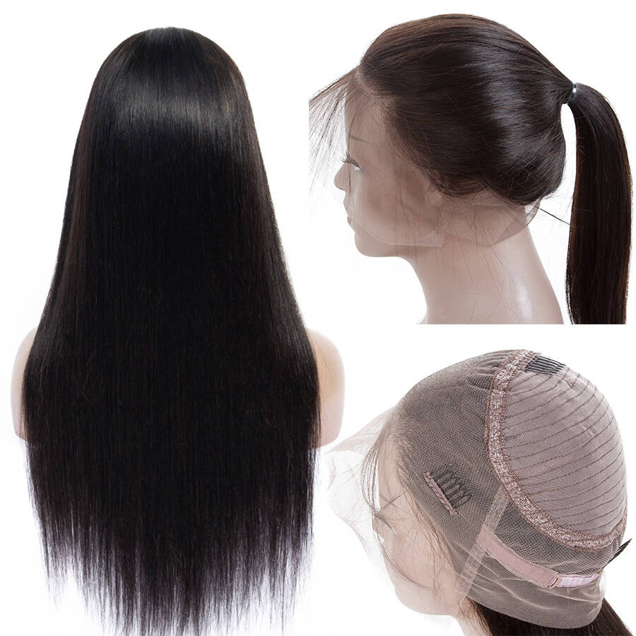 Straight HD 360 Lace Wigs With Ponytail