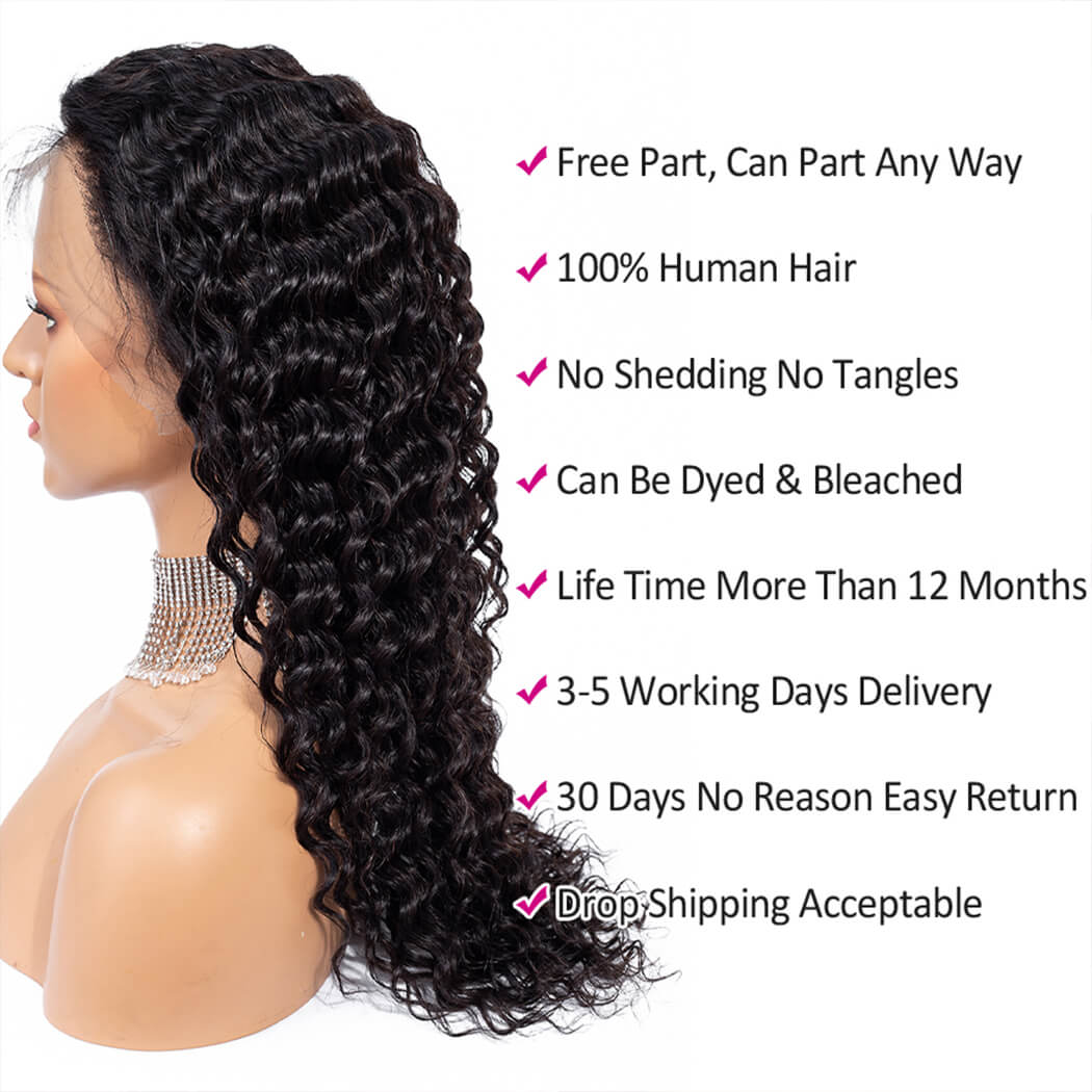 cheap deep wave lace front wig