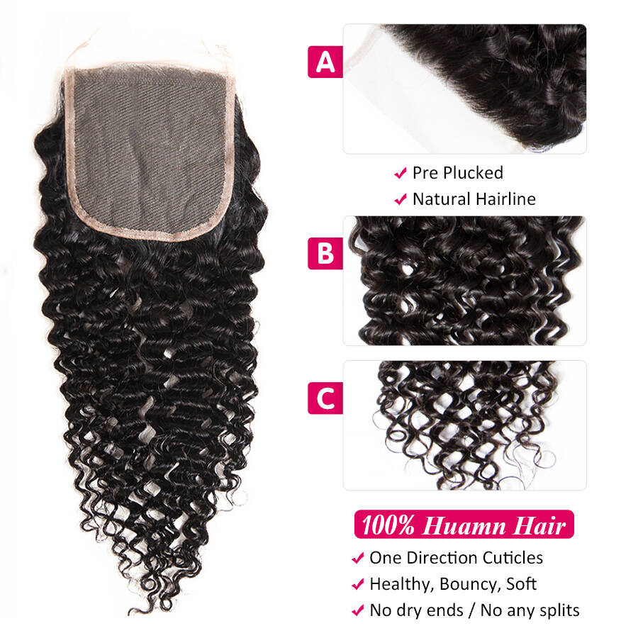 cynosure malaysian curly closure 4x4 HD lace curly closure