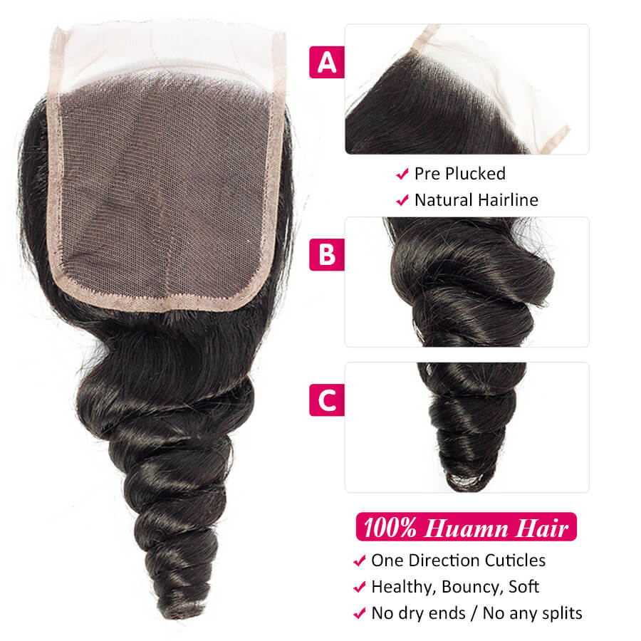 Malaysian Loose Wave HD 4x4 Lace Closure Description