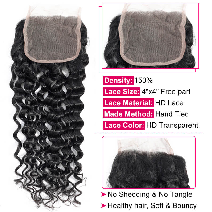 Malaysian Water Wave 4x4 HD Lace Closure Hair Description