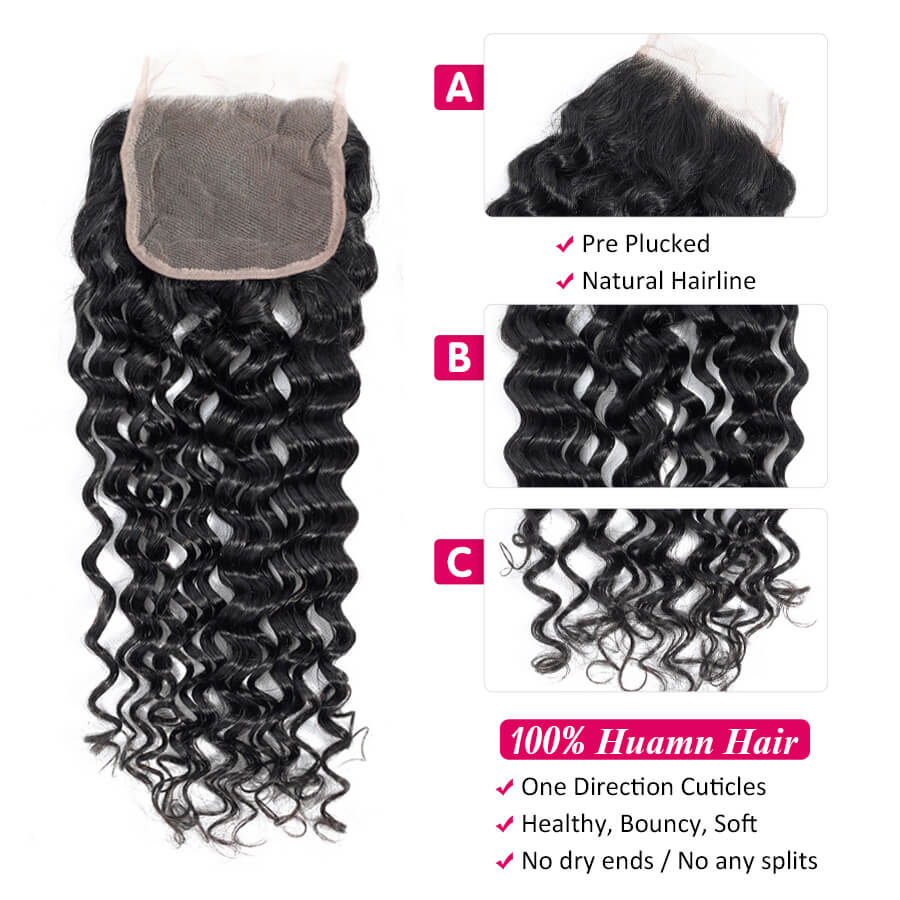 Cynosure Malaysian Water Wave 4x4 HD Lace Closure Description