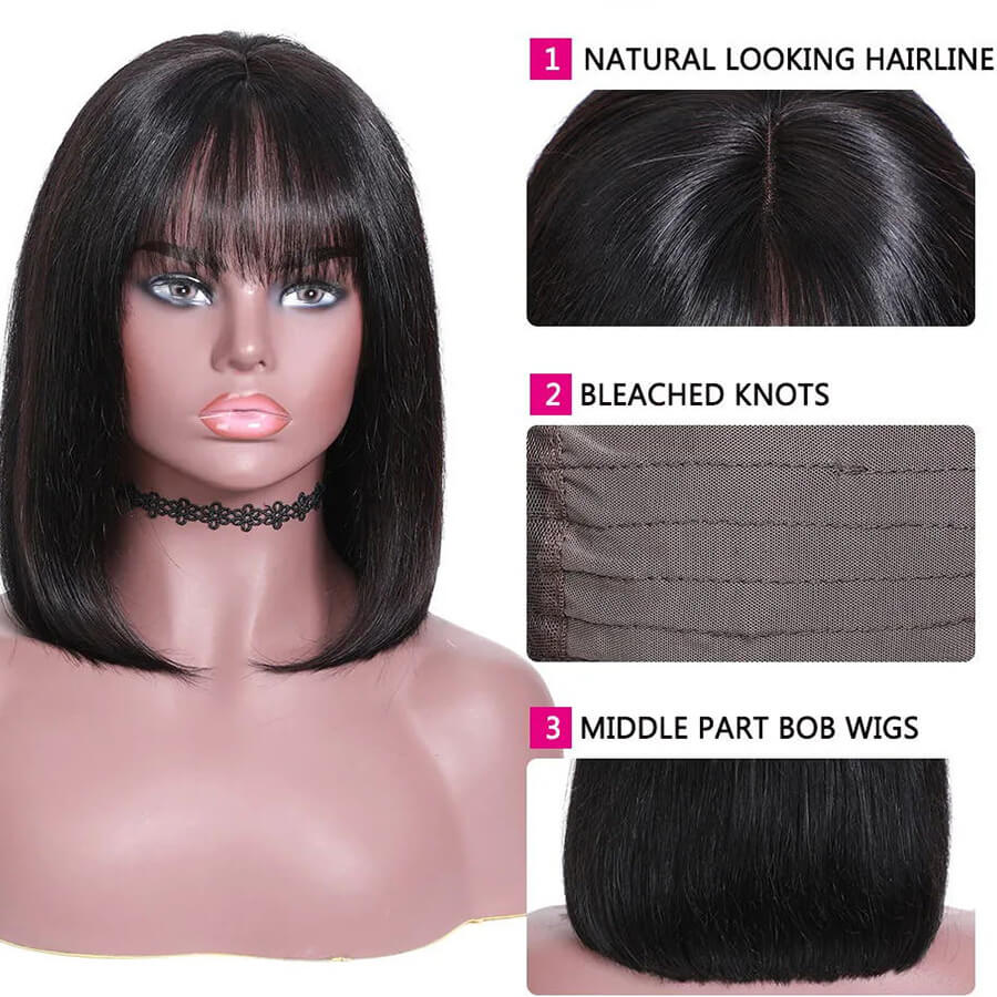 hd bob wigs with bangs description