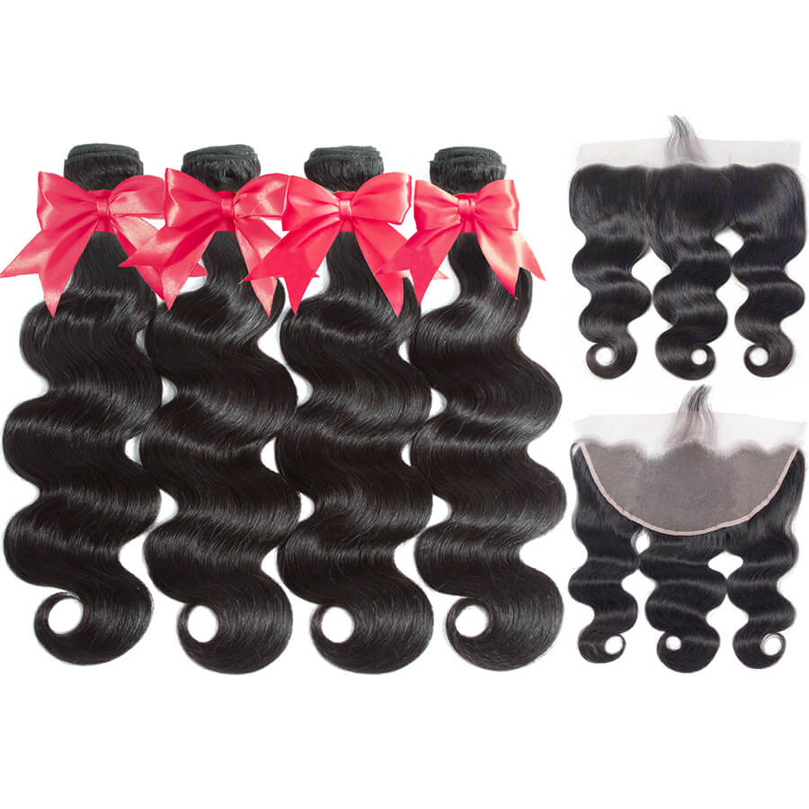 Body Wave 4 Bundles With 13x6 HD Lace Frontal Back&Front