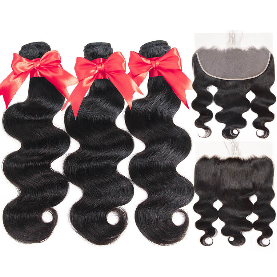 Body Wave 3 Bundles With HD 13x6 Lace Frontal Short