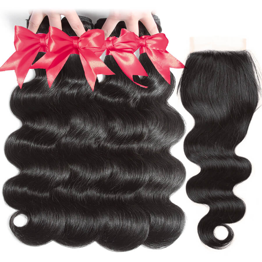 Body Wave 3 Bundles With 4x4 HD Lace Closure All Front