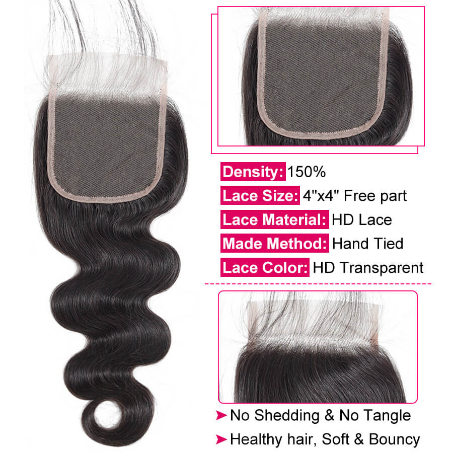 Body Wave HD Lace Closure Lace Description