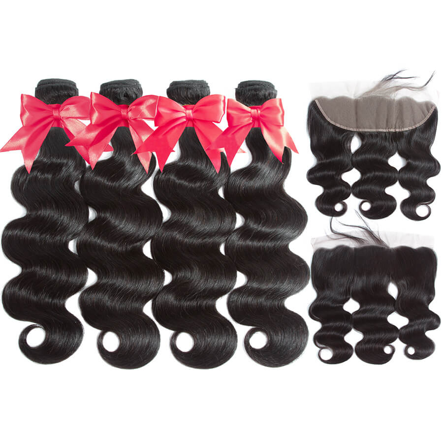 Body Wave 4 Bundles With 13x4 HD Lace Frontal Back&Front