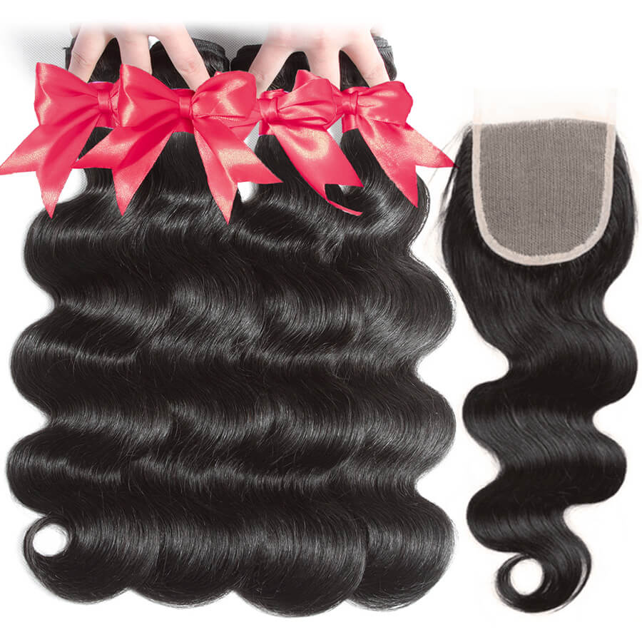 Body Wave 4 Bundles With 4x4 HD Lace Closure Lace Back