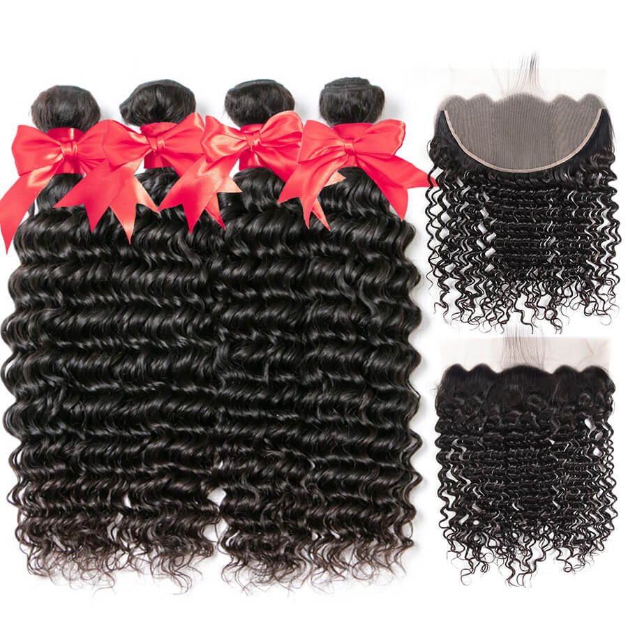 Deep Wave Hair 4 Bundles With 13x6 HD Lace Frontal