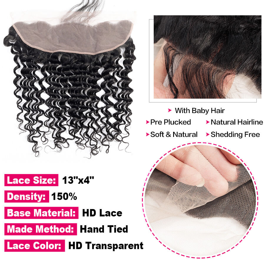 Deep Wave 13x4 HD Lace Frontal Lace&Baby Hair Description