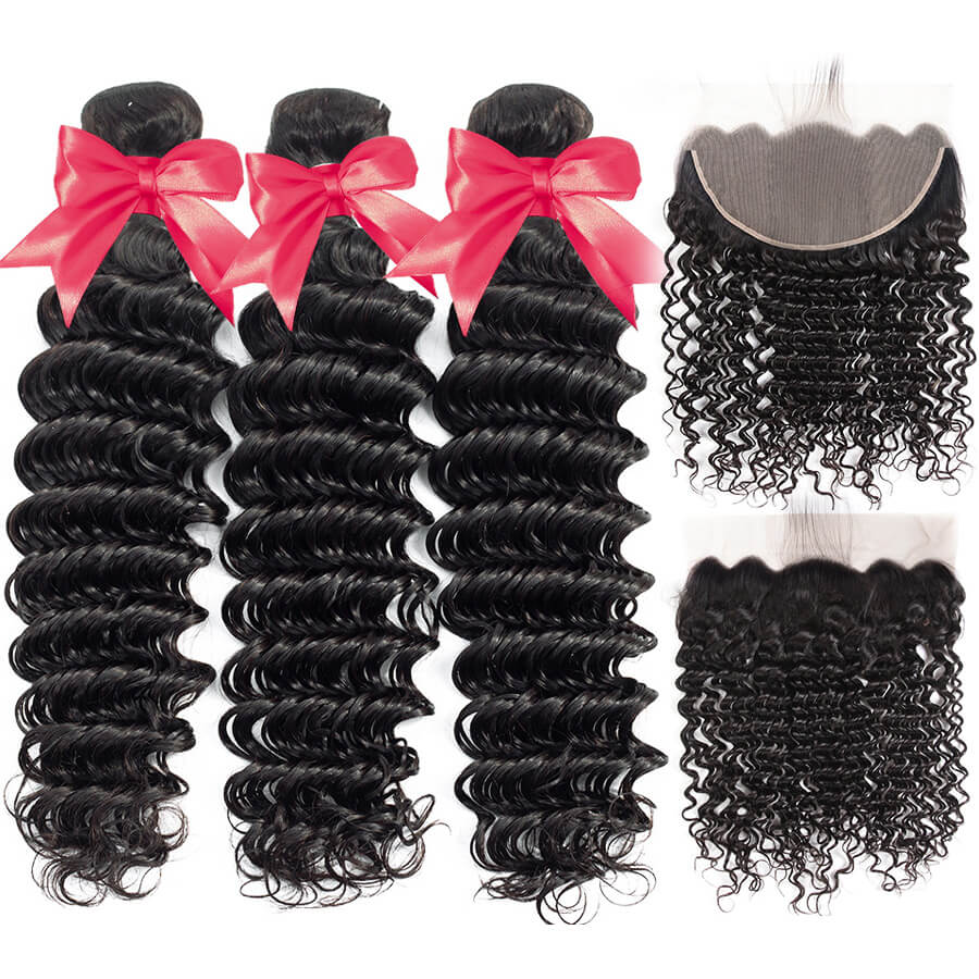 Deep Wave 3 Bundles With 13x6 HD Lace Frontal Lace Back&Front