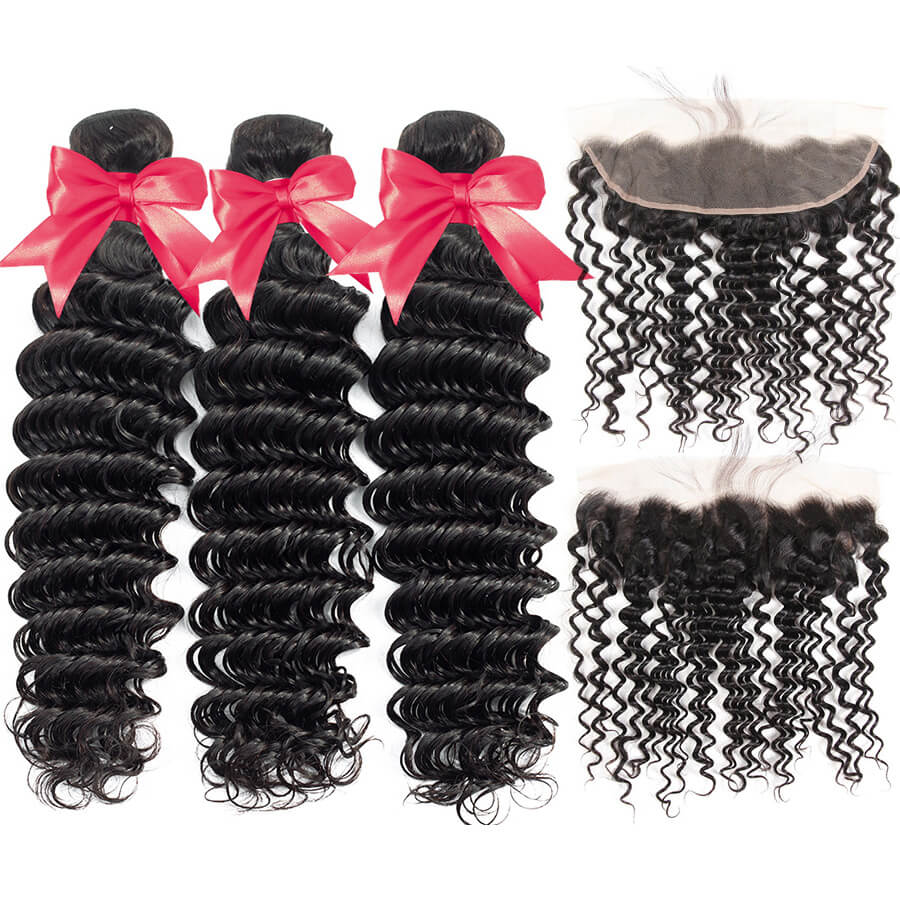 Deep Wave 3 Bundles With 13x4 HD Lace Frontal Lace Back&Front