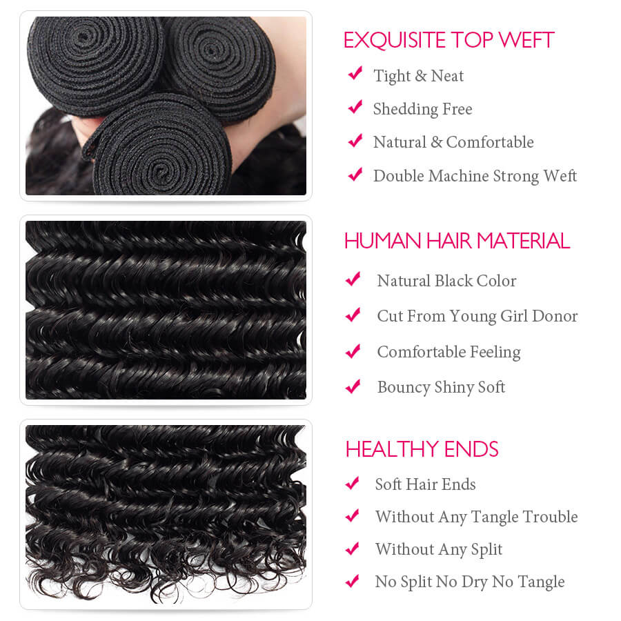 Deep Wave Hair Bundles Description