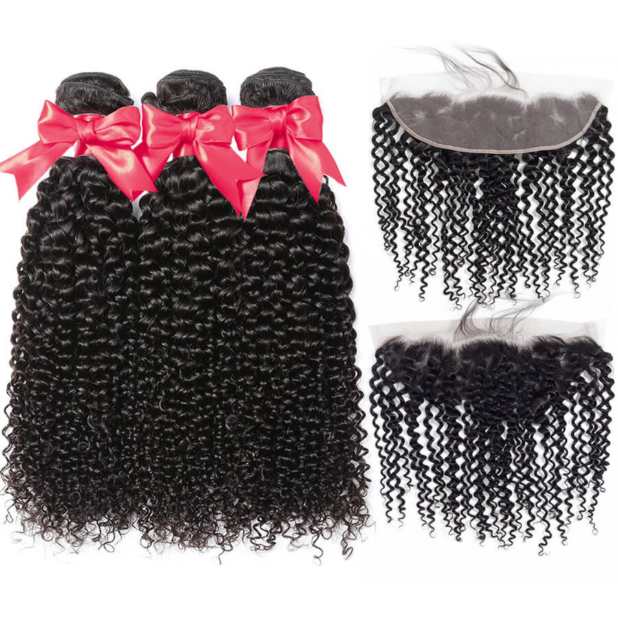 Curly Hair 3 Bundles With 13x4 HD Lace Frontal Lace Back Front