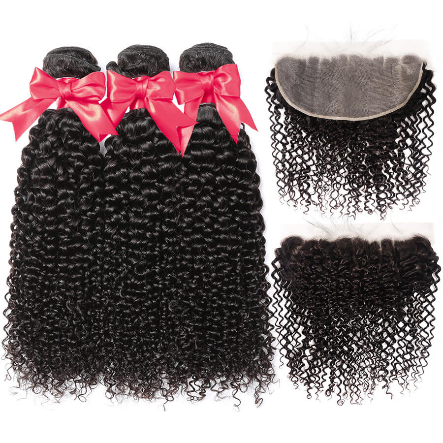 Curly Hair 3 Bundles With 13x6 HD Lace Frontal Lace Back Front