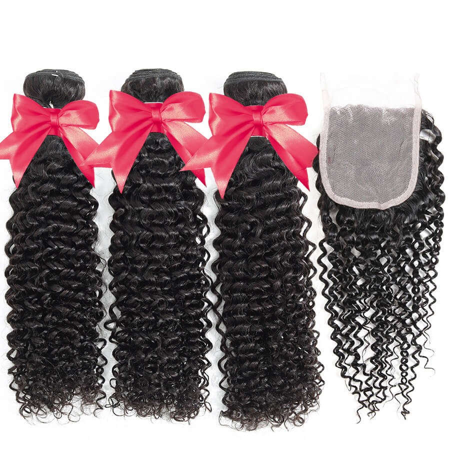 Curly Hair 3 Bundles With 4x4 HD Lace Closure