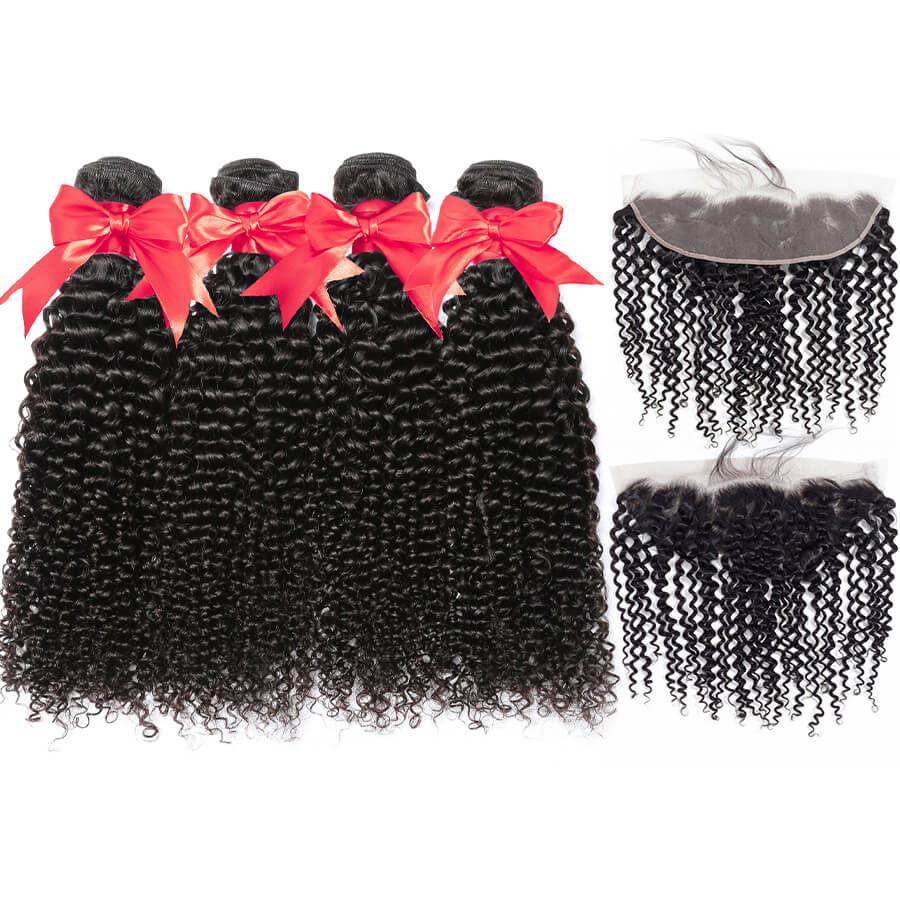 Curly Hair 4 Bundles With 13x4 HD Lace Frontal Lace Back&Front