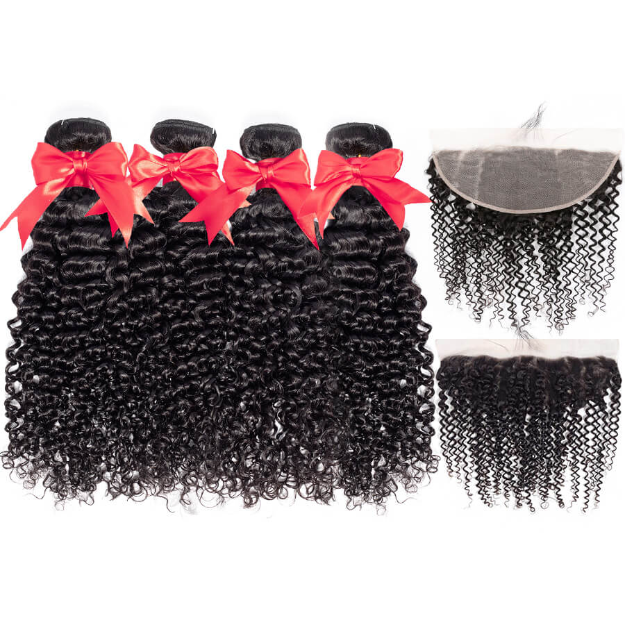 Curly Hair 4 Bundles With 13x6 HD Lace Frontal Lace Back&Front