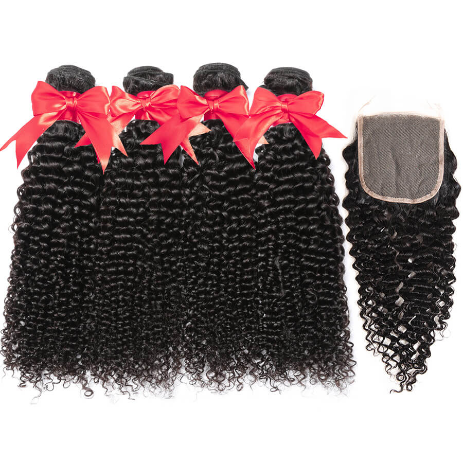 Curly Hair 4 Bundles With 4x4 HD Lace Closure Lace Back