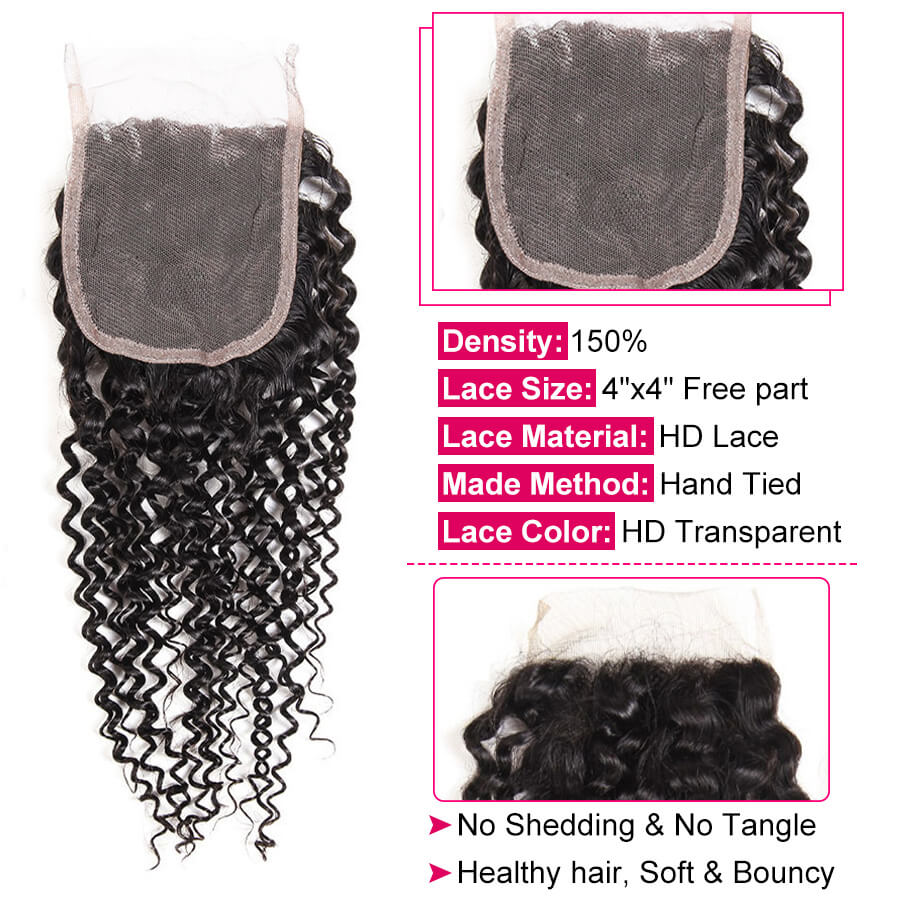 Curly Hair HD 4x4 Lace Closure Description