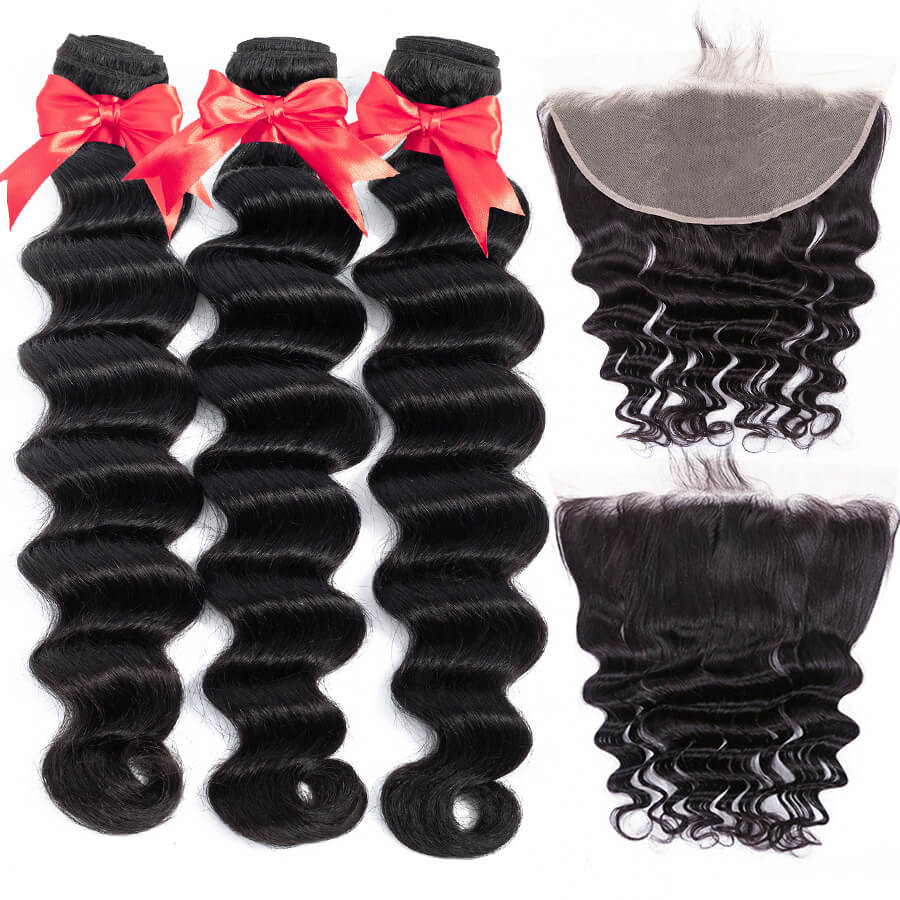 Loose Deep Wave 3 Bundles With 13x6 HD Lace Frontal Lace Back&Front