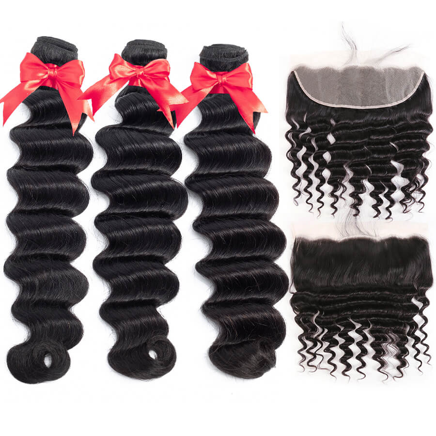 Loose Deep Wave 3 Bundles With 13x4 HD Lace Frontal Lace Back&Front