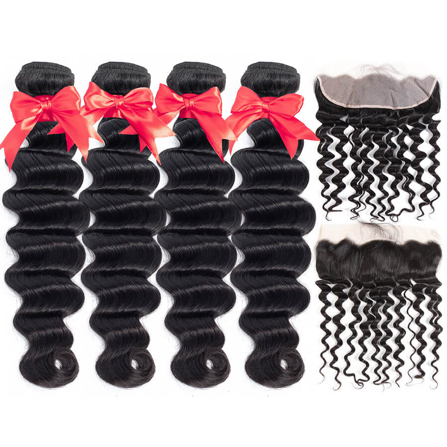 Loose Deep Wave 4 Bundles With 13x4 HD Lace Frontal Lace Back&Front