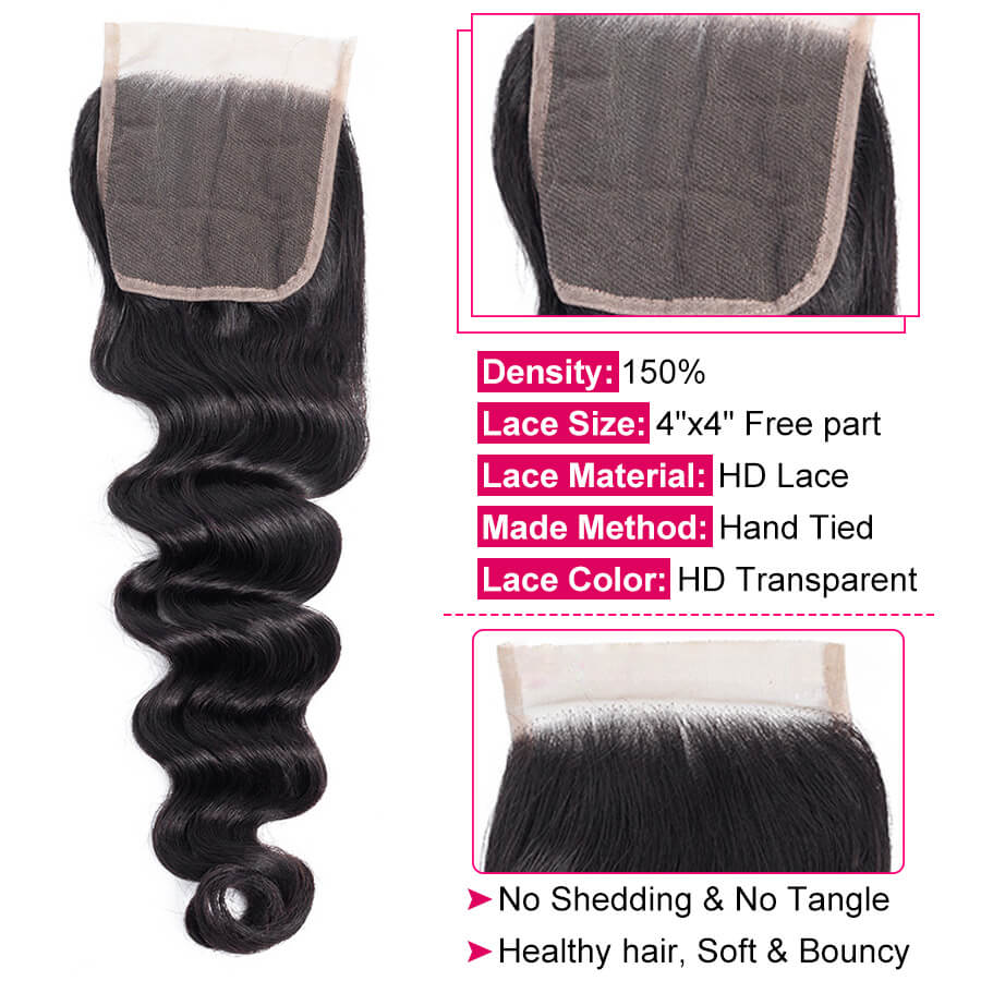 Loose Deep Wave 4x4 HD Lace Closure Description