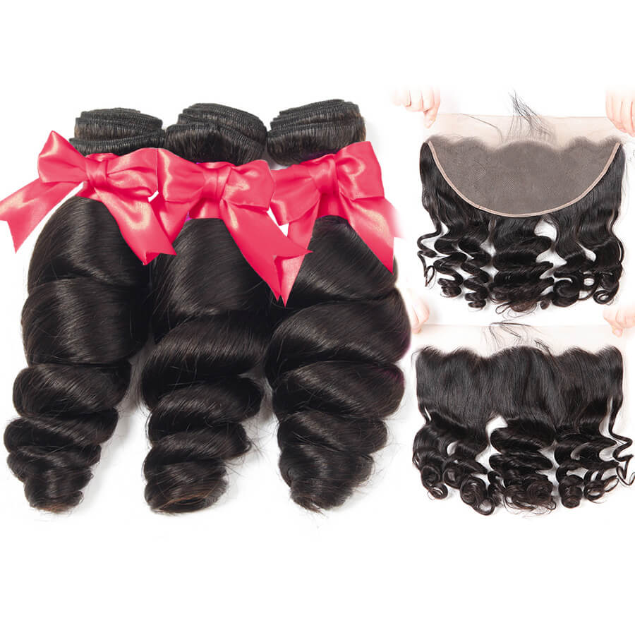 Loose Wave 3 Bundles Hair With 13x6 HD Lace Frontal