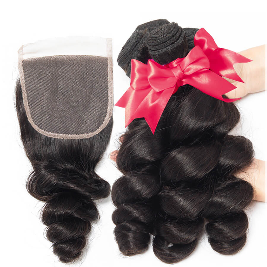 Loose Wave Hair 3 Bundles With 4x4 HD Lace Closure