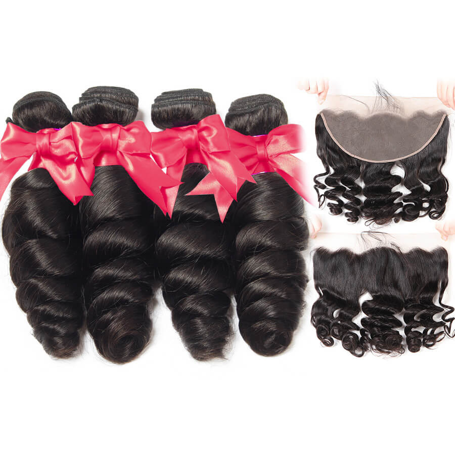 Loose Wave 4 Bundles Hair WIth 13x6 HD Lace Frontal