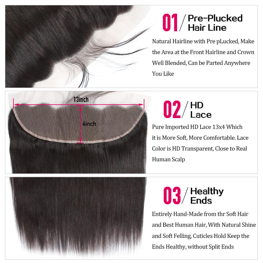 Straight Hair HD Lace Frontal Description