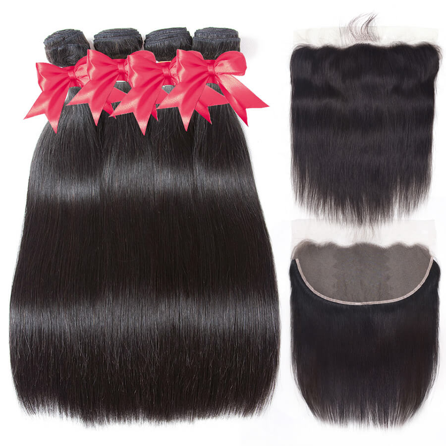 Straight 4 Bundles With 13x6 HD Lace Frontal
