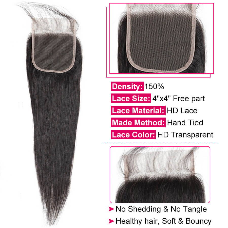 Straight Hair HD 4x4 Lace Clsoure Description