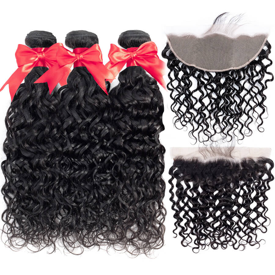 Water Wave 3 Bundles With HD 13x6 Lace Frontal Lace Back&Front