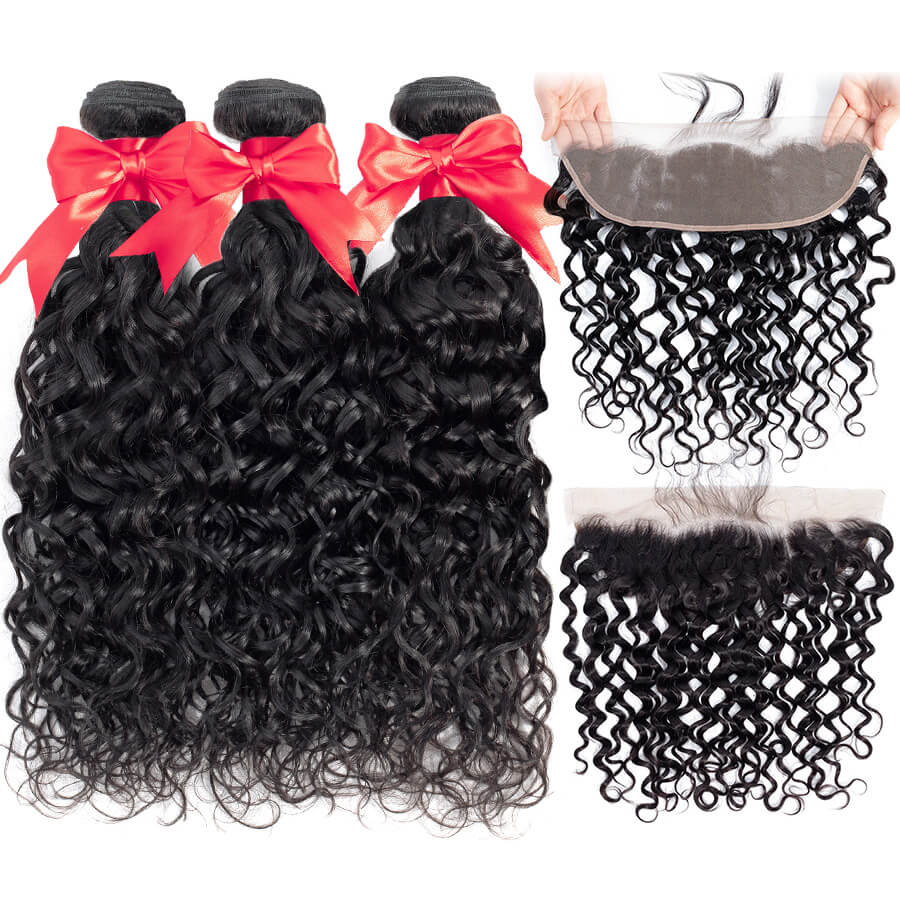 Water Wave 3 Bundles With HD 13x4 Lace Frontal Lace Back&Front