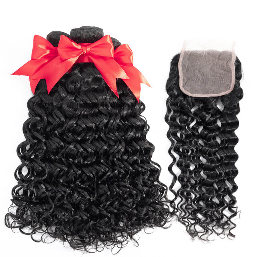 Water Wave 3 Bundles With 4x4 Lace Closure Lace Back