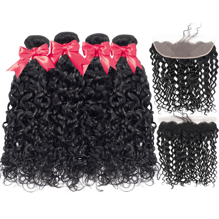 Water Wave 4 Bundles With HD 13x4 Lace Frontal Lace Back&Front