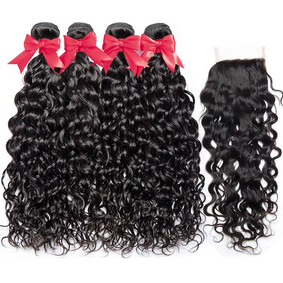 Water Wave 4 Bundles With HD 4x4 Lace Closure