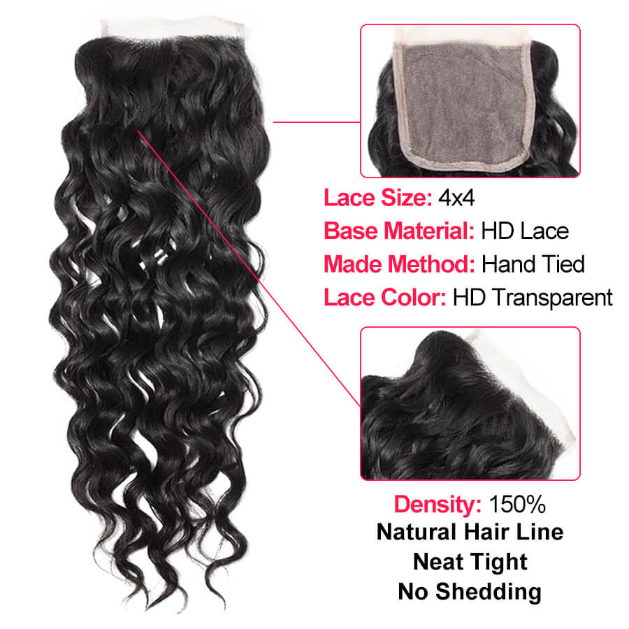 Water Wave HD 4x4 Lace Closure Description