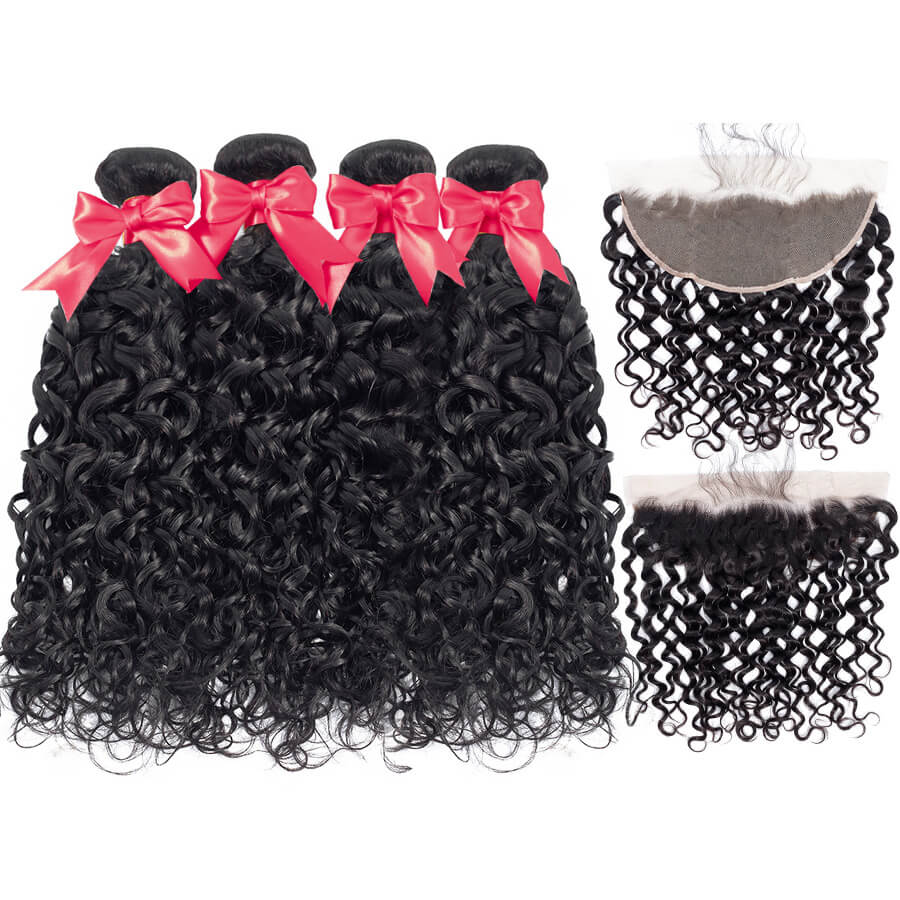 Water Wave 4 Bundles With HD 13x6 Lace Frontal Lace Back&Front