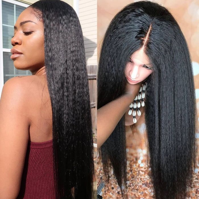Kinky Straight Lace Front Wigs 100 Virgin Human Hair Weave Kinky Straight Human Hair With Pre Plucked Hairline
